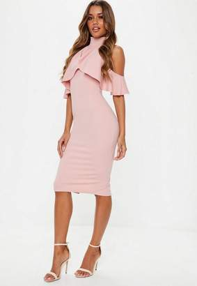Missguided Rose Pink Cold Shouder Frill Midi Dress