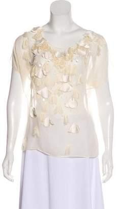 Rebecca Taylor Semi-Sheer Embellished Blouse