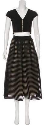ABS by Allen Schwartz Eyelet Midi Skirt Set
