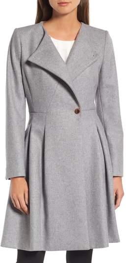 Ted Baker Wool Blend Asymmetrical Skirted Coat