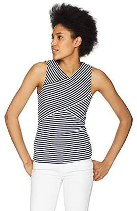 Three Dots Women's Desert Stripe Tight Short Sleeveless Top