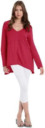 Neon Buddha Women's Deep V Neck Loose Long Sleeve Shirt