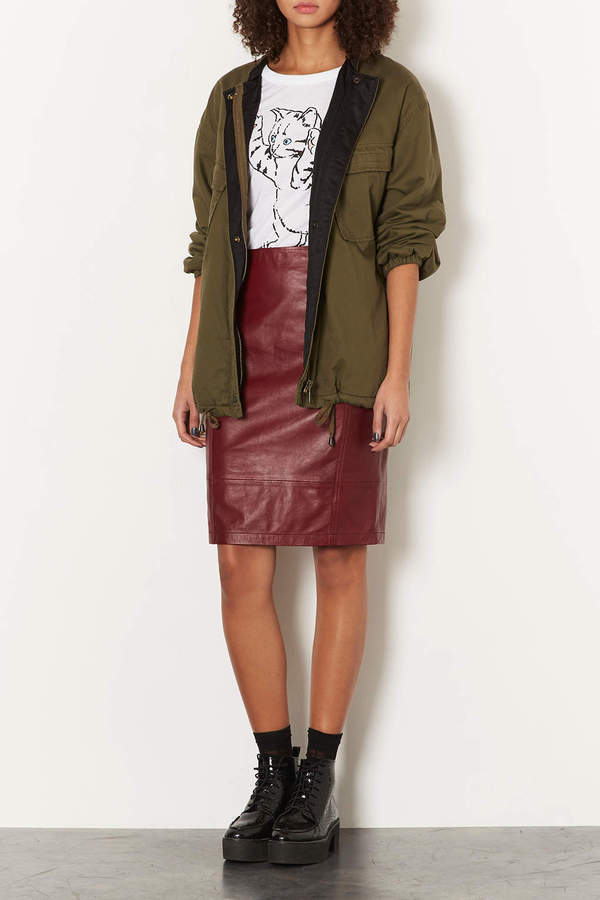 Topshop Leather Panel Pencil Skirt