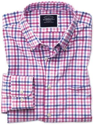 Charles Tyrwhitt Slim Fit Poplin Pink Multi Gingham Cotton Casual Shirt Single Cuff Size Large