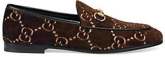 Gucci Women's New Jordaan Velvet Loafers - Brown