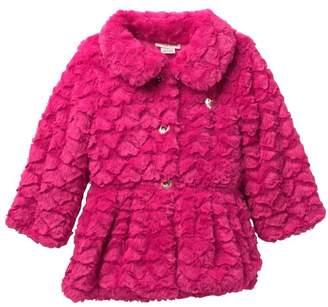 Juicy Couture Fuchsia Embossed Heart Faux Fur Jacket\n(Little Girls)