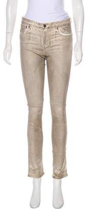 Helmut Lang Coated Mid-Rise Skinny Jeans