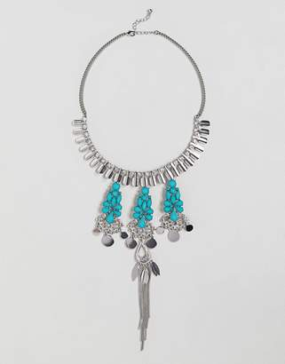 Asos Jewel And Stone Cut Out Detail Necklace