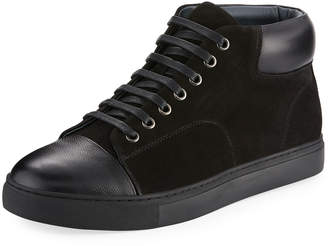 English Laundry Guard Men's Leather/Suede High-Top Sneakers