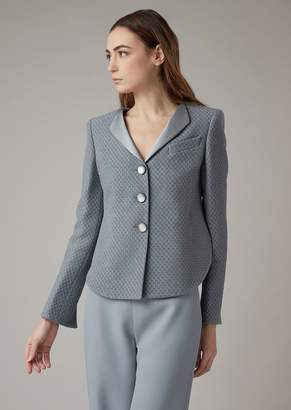 Giorgio Armani Asymmetric Jacket In Checkerboard-Motif Jacquard Fabric