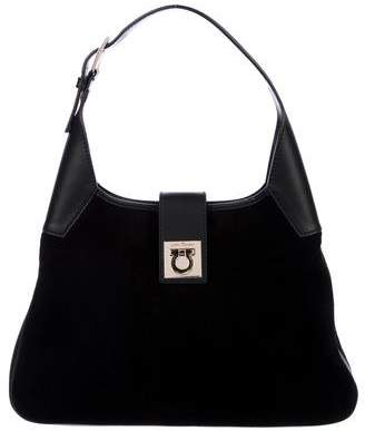 Salvatore Ferragamo Leather-Trimmed Suede Hobo