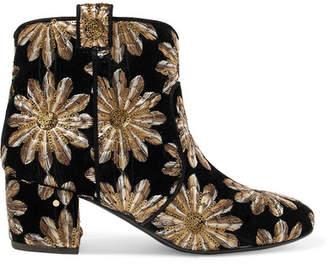 Belen Sequin-embellished Embroidered Velvet Ankle Boots - Black