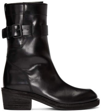 Haider Ackermann Black Dean Engineer Buckle Boots
