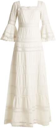 TALITHA Fluted-sleeve pleated cotton maxi dress