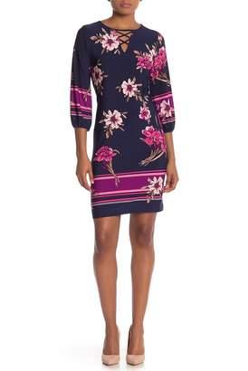 Sandra Darren Floral 3\u002F4 Sleeve Shift Dress