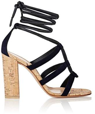 Gianvito Rossi Cayman Leather & Suede Ankle-Tie Sandals i REsm HFy