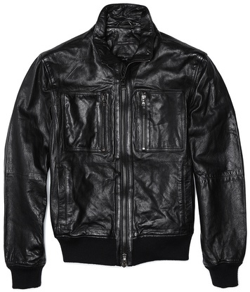 John Varvatos Band Collar Leather Zip Up Jacket