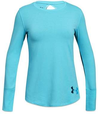 Under Armour Girls' Long-Sleeve Keyhole-Back Tee - Big Kid
