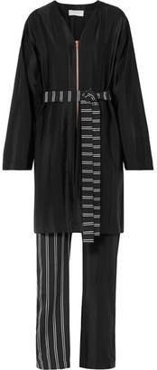 Esteban Cortazar Striped Satin And Crepe De Chine Jumpsuit - Black