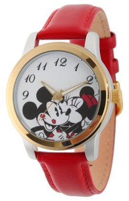 Gummy Bears Disney Mickey and Minnie Mouse Women's Two Tone Silver and Gold Alloy Watch, Red Leather Strap