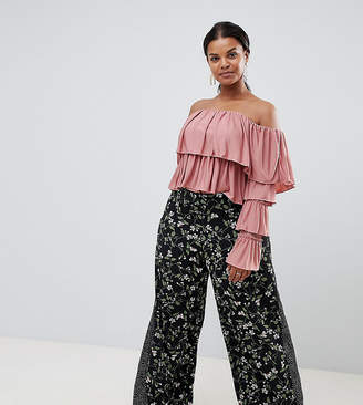 Missguided Plus Floral And Polka Dot Wide Leg Pants