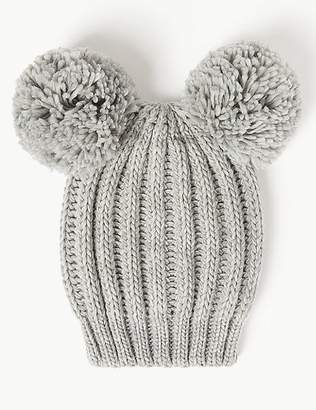 Marks and Spencer Double Pom Beanie Hat