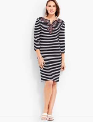 Talbots Embroidered-Neckline Stripe Shift Dress