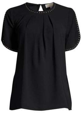 MICHAEL Michael Kors Stud Detail Pleated Top