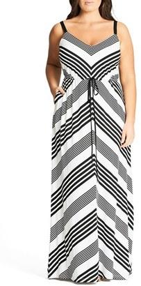 Plus Size Women's City Chic Stripe Maxi Dress $99 thestylecure.com