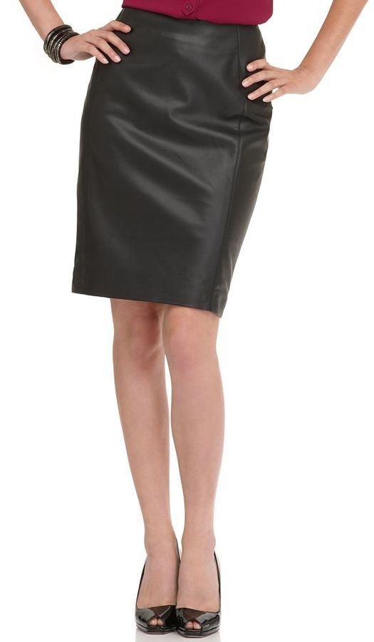 Ellen Tracy Skirt, Faux Leather Pencil