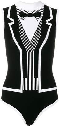 Thom Browne Trompe L'oeil Black Tie Bodysuit