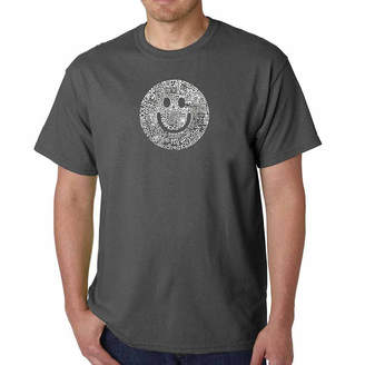 LOS ANGELES POP ART Los Angeles Pop Art Smile in Different Languages Short Sleeve Word Art T-Shirt - Big and Tall