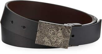 Robert Graham Men's Holmes Paisley-Etched Buckle Leather Belt