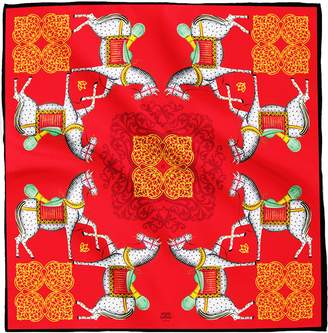 House of Gharats - Kalighat Horse Classic Silk Scarf Collection Red & Yellow Large