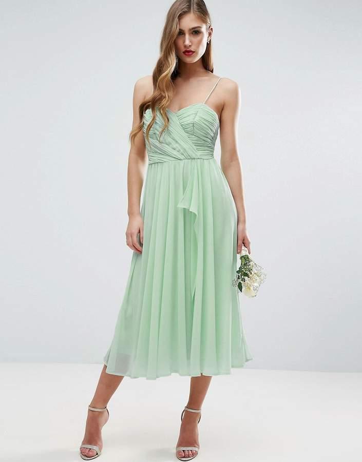 AsosASOS WEDDING Ruched Cami Midi Dress with Ruffle Front