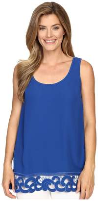 Adrianna Papell Crepe Tank Blouse with Embroidered Border Women's Blouse
