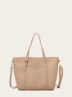 Shein Buckle Detail Shoulder Bag With Double Handle