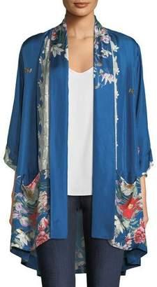 Johnny Was Samira Long Floral-Print Silk Kimono Jacket, Plus Size
