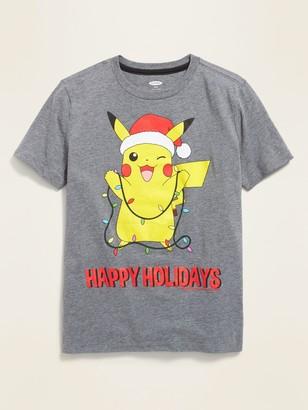 "Old Navy Pokemon Pikachu ""Happy Holidays"" Tee for Boys"