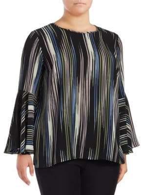 Vince Camuto Stripe-Print Flounce-Sleeve Blouse