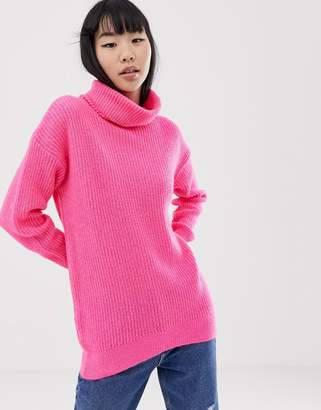 New Look roll neck sweater in pink neon