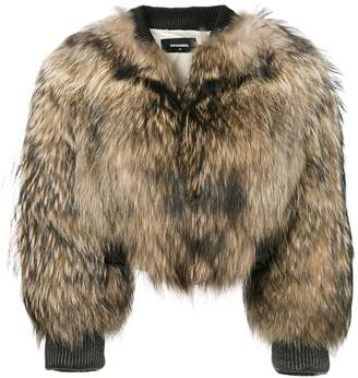 DSQUARED2 racoon fur bomber jacket