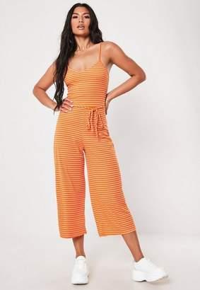 Missguided Orange Stripe Rib Culotte Romper