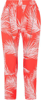 Paradised - Naish Cord-trimmed Printed Voile Tapered Pants