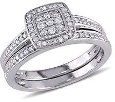 Concerto 0.24 TCW Diamond and Sterling Silver Layered Square Halo Bridal Ring
