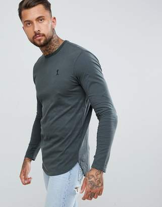 Religion longline curved hem long sleeve top in gray