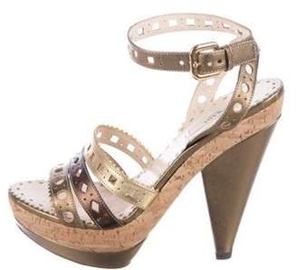 Prada Laser-Cut Ankle Strap Sandals