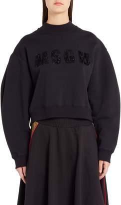 MSGM Sequin Logo Balloon Sleeve Crop Sweatshirt