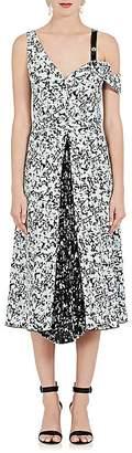 Proenza Schouler WOMEN'S FLORAL SILK GODET-INSET DRESS