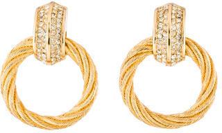 Christian Dior Christian Dior Crystal & Textured Hoop Drop Earrings